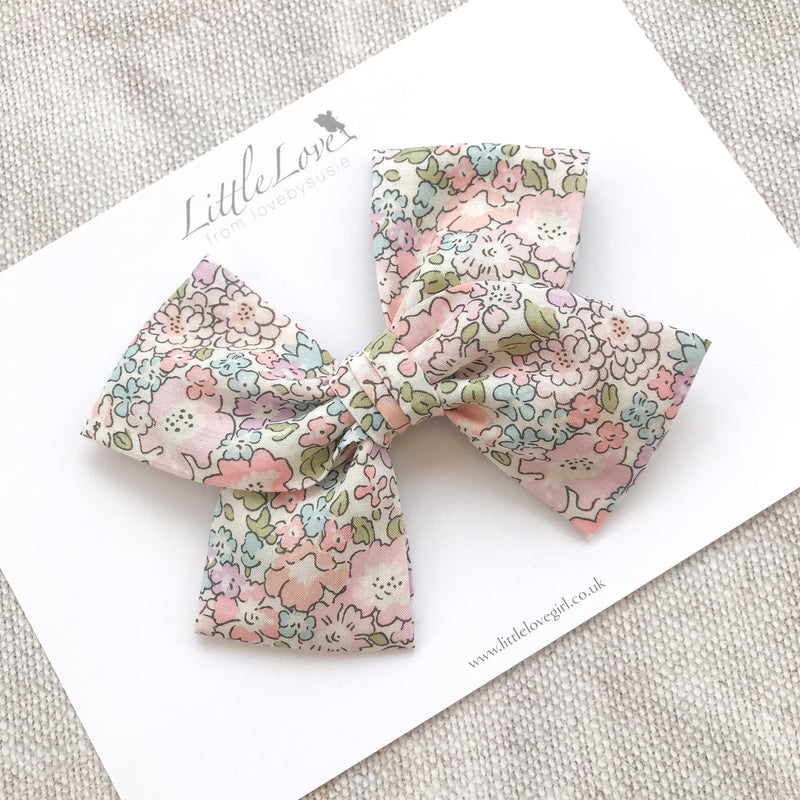 Shop Little Love Prairie style, Liberty London Michelle floral bow hair clip, Liberty floral print cotton bow hair clips for little girls, floral print cotton bow hair clips, liberty hair accessories, liberty print hair bows, uk handmade hair bows, oversize liberty fabric bow hair clips, liberty tana lawn hair bows