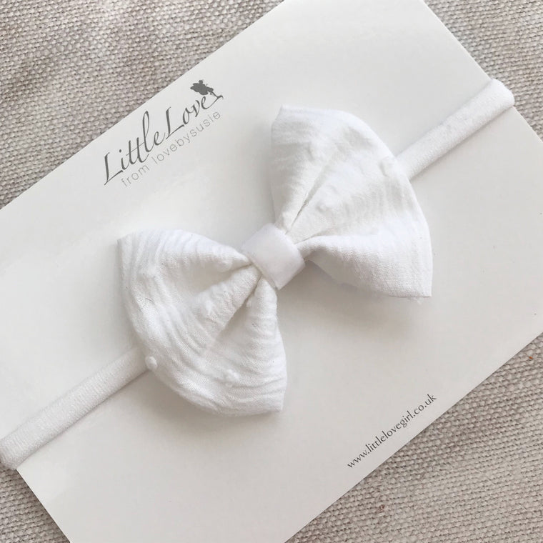 Little Love white cotton bow headband, white baby bow headband, christening headband, baptism baby headband in white, white baby headband, white bow hair clip, cotton spot hair clips, white hair bows, cotton bow headband,white cotton bow headband, white cotton hair bow, white baby hairbows, white baby bow headband, white cotton baby bow, swiss dot bow
