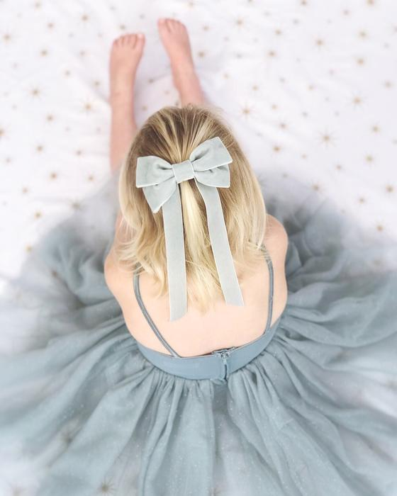 Velvet Fable Bow Barrette from Little Love in Silver Mist,, Oversize velvet hair bow, silver bluevelvet hair bow, grey velvet hair bow, pale blue christmas bow hair clip, large velvet bow uk, silver mist velvet hair bow, bow for flower girl, Christmas hair bow, flower girl hair accessories uk