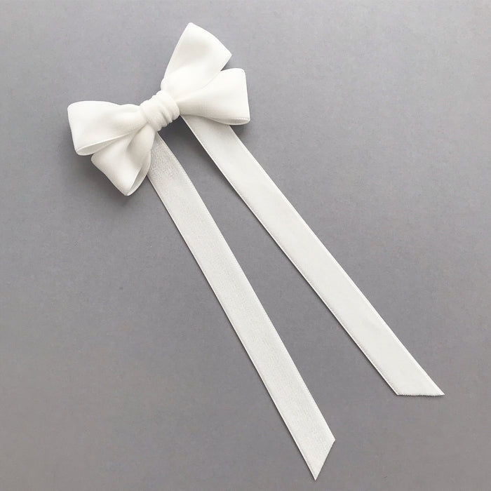 Velvet Bow Barrette/ EVER AFTER / IVORY