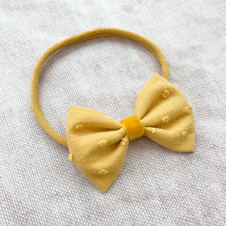 Swiss Dot Cotton Baby Bow/ Ochre
