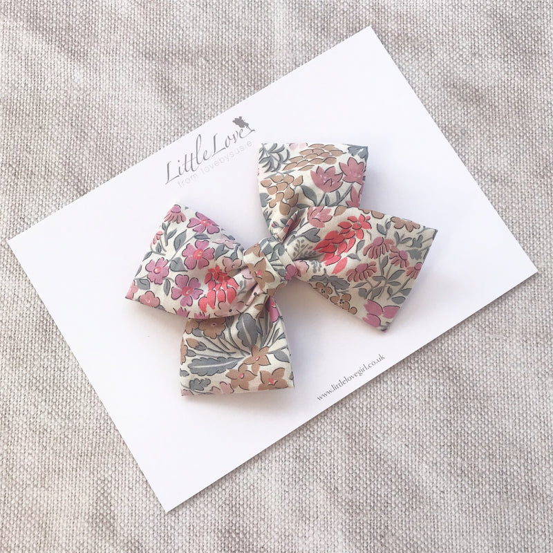 Little Love Liberty Sweet May hairbow collection for little girls, liberty floral hairbows, Liberty cotton hair clips, liberty hair bows, liberty sweet may, floral bow hair clips, floral bow hair clips, floral liberty hair clips, liberty print hair bows, Sweet May cotton bow hair clip, little love bows