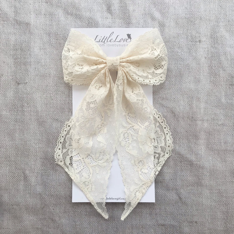 Collette Lace Bow Hair Barrette