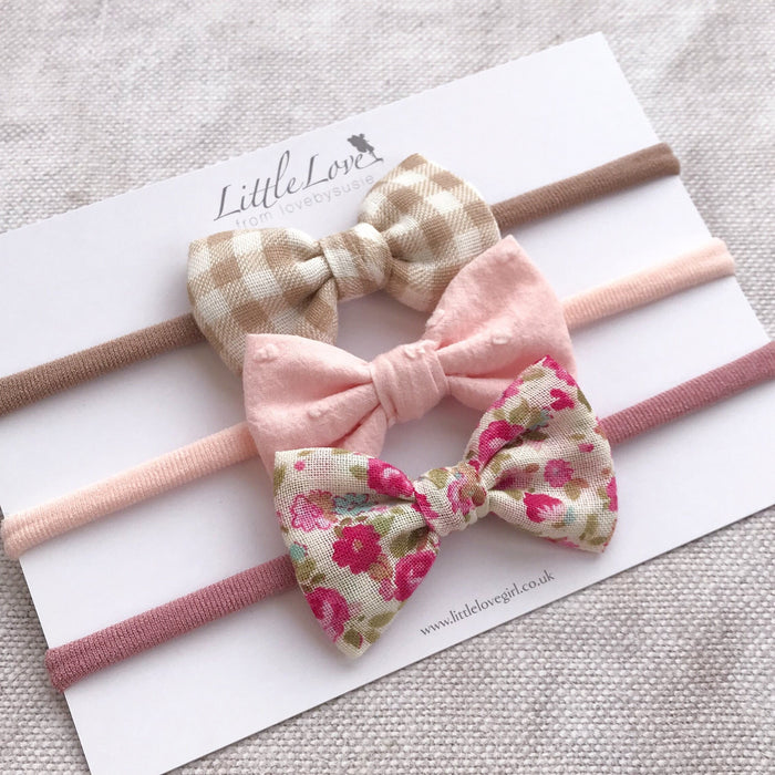 Cotton Baby Bow Headband Set / PRAIRIE