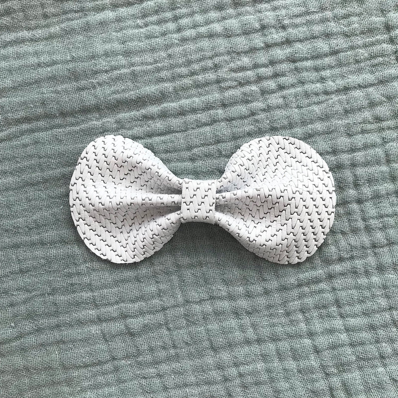 Leather Bow/ White Embossed
