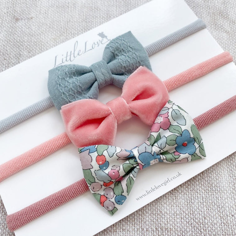 Baby Bow Set / Betsy Berry Rose & Teal
