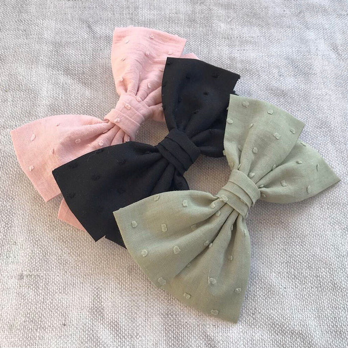 Women's Oversized Bow Barette/ Swiss Dot