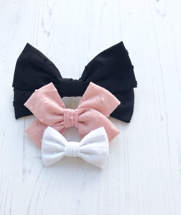 Swiss Dot Mini Bow Hair Clip