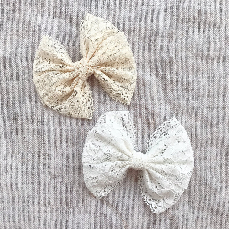 Collette Lace Bow Hair Clip