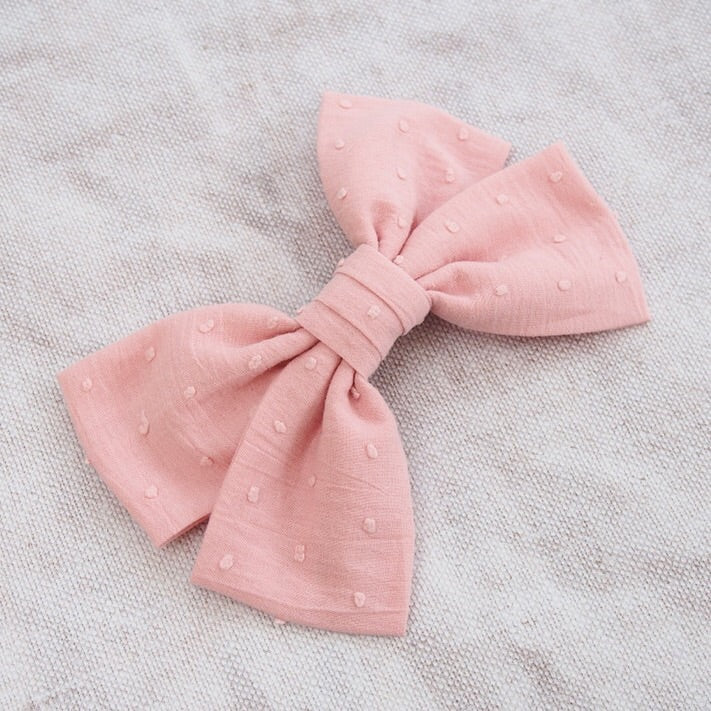 oversized cotton bow barette, womens hair bows, womens hair clips, oversized hair bows for women, big pink bow hair clip, cotton spot bow hair clips, pink hair bows, pink cotton spot bow hair clips, Women's hair accessories, pale pink cotton bow hair clip, pale pink cotton hair bow, Womens Hair Barrette