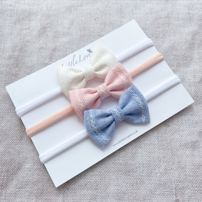 Dimity Cotton Baby Bow Set
