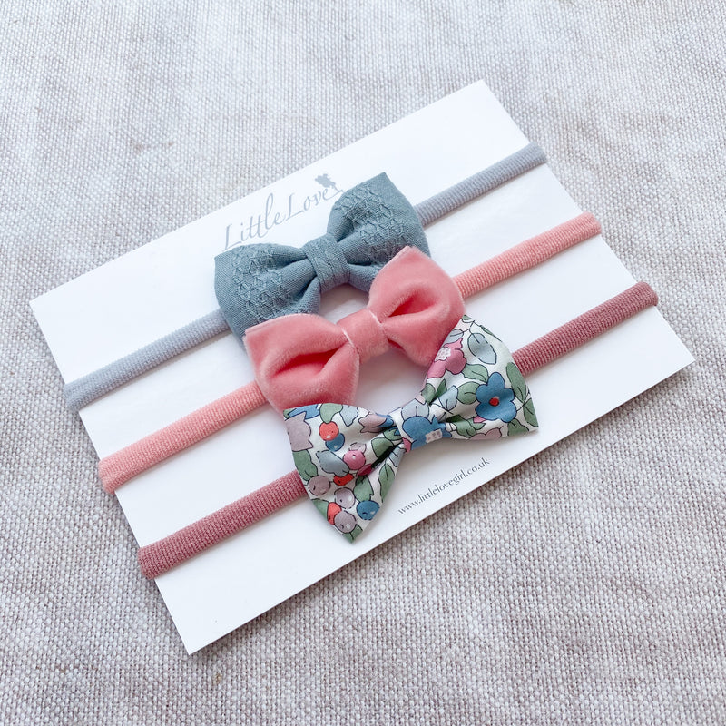 Little Love luxury baby bow headband set for newborn to baby to toddler in velvet, liberty betsy berry, velvet bow headband, velvet baby bow, pink velvet baby bow, velvet bow headband for baby, pink liberty print bow headband, liberty bows for baby, baby bows in liberty print, velvet baby bow, teal baby bow