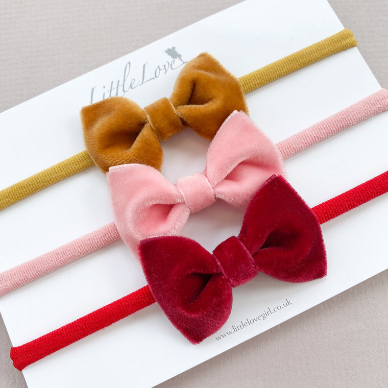 Velvet Baby Bow Headband Set / Autumn