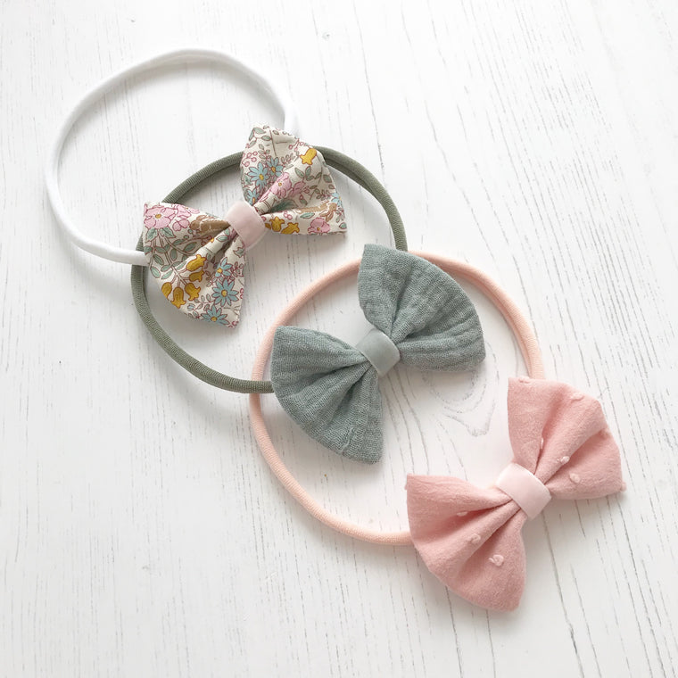 Cotton Bow Headband/ Wildflower