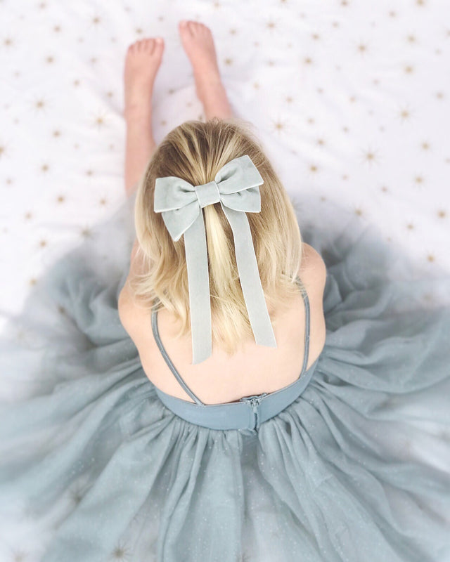 Fable Velvet Bow Barrette, Oversize velvet hair bow, silver velvet hair bow, velvet hair bow uk, grey flower girl bow, large velvet bow uk, pink velvet bow barrette, hair bow for flower girl, flower girl hair bow, flower girl hair accessories uk, christmas hair bow, hair bow for christmas