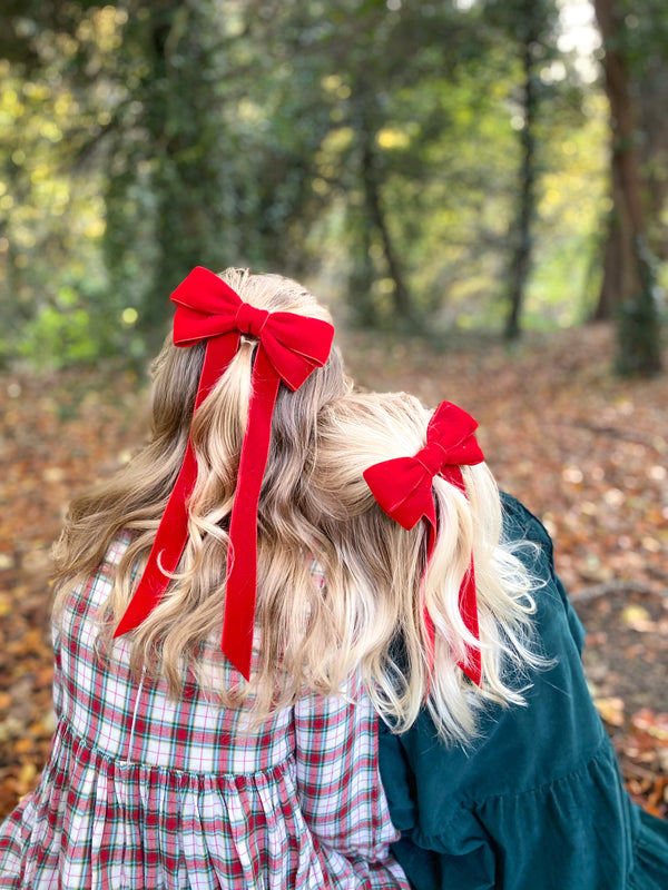 Velvet Bow Barrette/ EVER AFTER / TRUE RED