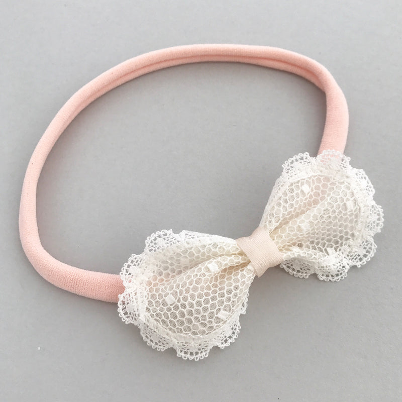 Sophia Spot Lace Bow Baby Headband, Baby or Toddler Ivory bow headband in Ivory and Pale Pink, Ivory Baby Bow Baby Bow For Wedding, Ivory Christening headband, Toddler Bow, Pink Baby Headband, Ivory Baby Bow Headband