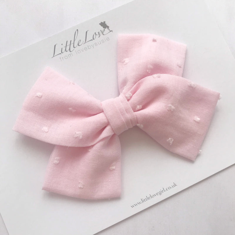 Swiss Dot Hair Clip/ Baby Pink