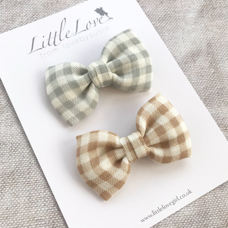 Mini Gingham Bow Hair Clips