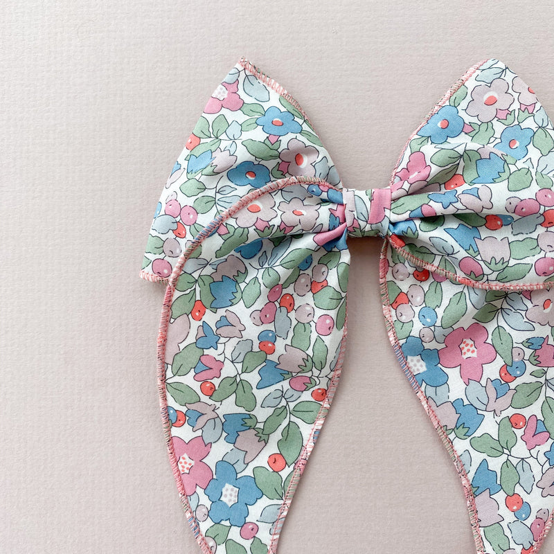 Little Love Prairie style Liberty Betsy Berry Hair Bow, Liberty London Betsy floral bow hair clip, Liberty floral print cotton bow hair clips for little girls, floral print cotton bow hair clips, liberty betsy hair accessories, liberty print hair bows, uk handmade hair bows, oversize liberty fabric bow hair clips