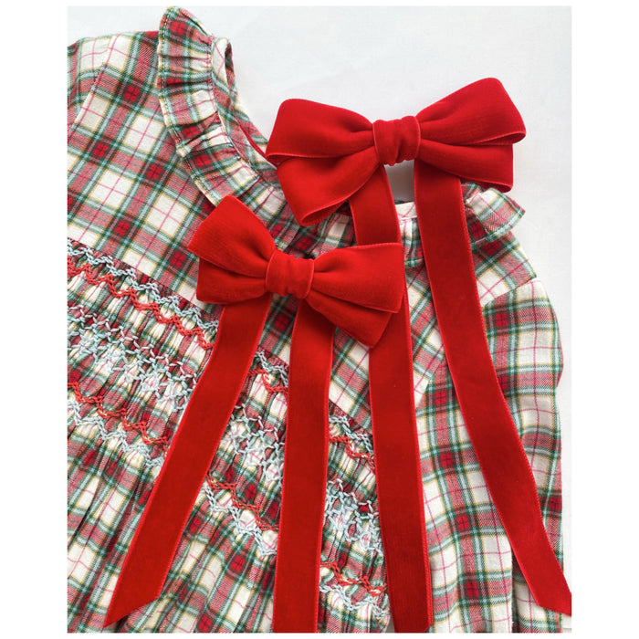Little Love 'Ever After' velvet bow hair clip in true red, red velvet hairbow for christmas, red velvet hairbow, red velvet bow barrette, bow barrette, Christmas Hair bows, girls hair accessories uk, red Christmas hair bow,tartan dress with red bows, christmas tartan dress and red bow flatlay