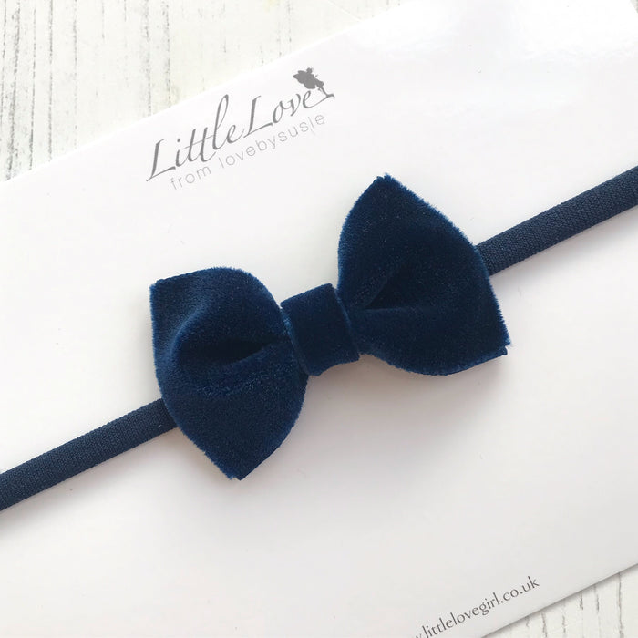 Velvet Bow Baby Headband/ NAVY
