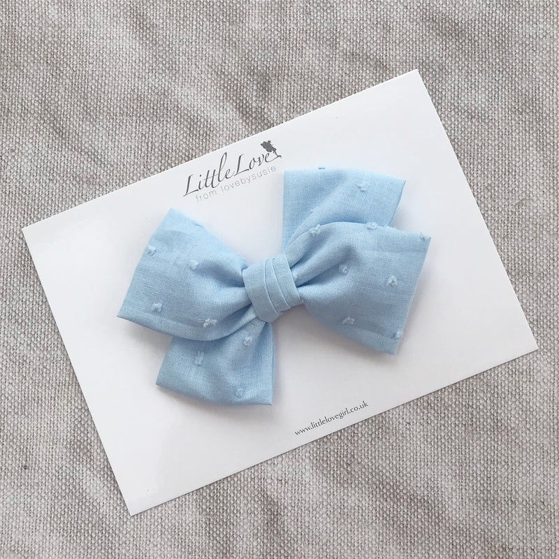 Blue Swiss Dot Cotton Hair Bow, Cotton Bow Hair Clip in Blue, Blue school hair bow, Blue Bow barrette, oversize blue hair bow, Blue bow hair clips, Baby Blue cotton bow, kids hair accessory, girls big hair bows, big Pale Blue bow hairclips, Little Love Girl, Childrens Hair accessories