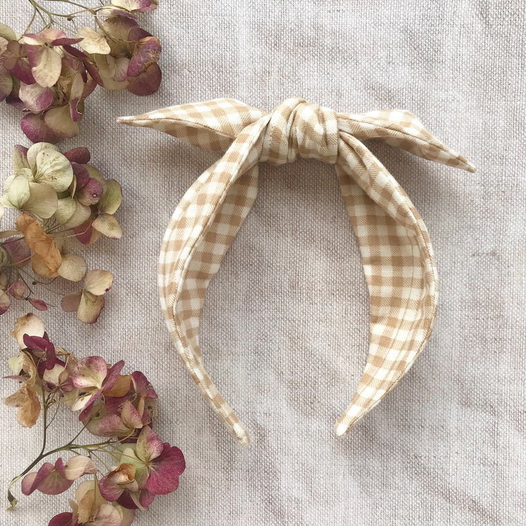 Gingham Cotton Bow Headband/ AW