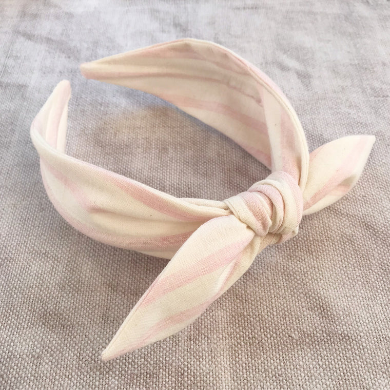 Pastel Pink Stripe Cotton Bow Headband
