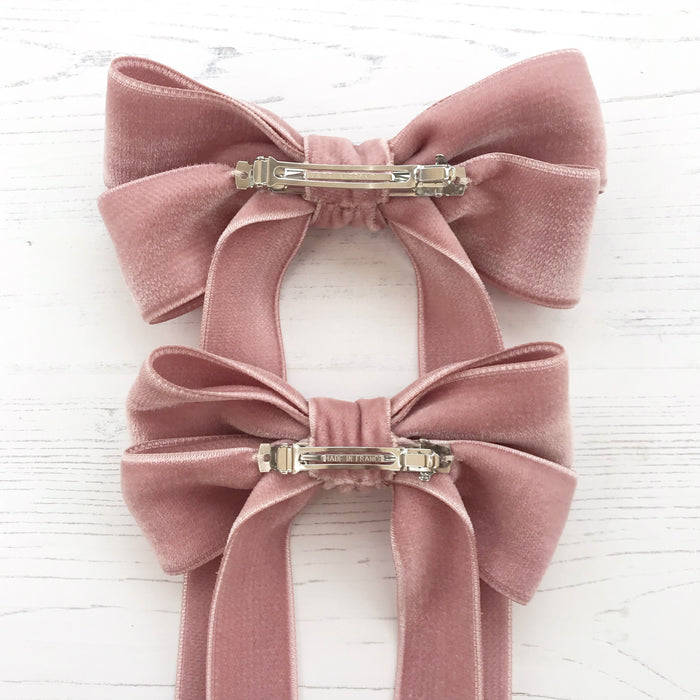 Velvet Bow Barrette/ EVER AFTER / AZALEA