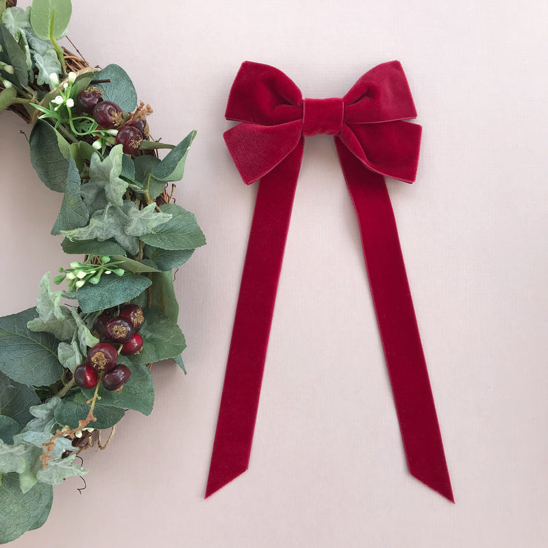 Velvet Fable Bow Barrette from Little Love, Oversize velvet hair bow, red velvet hair bow, pink velvet hair bow, red christmas bow hair clip, large velvet bow uk, red velvet hair bow, bow for flower girl, red Christmas hair bow, big red velvet bow, velvet bow barrette red bow