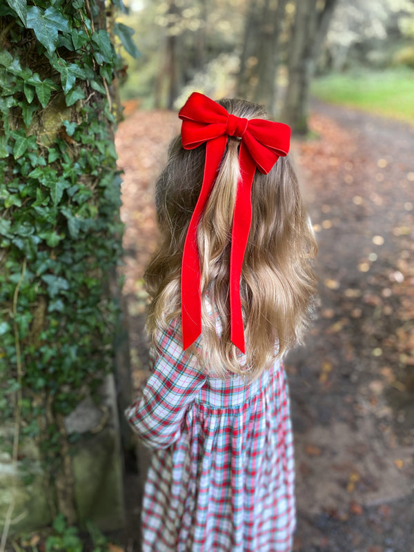 Little Love 'Ever After' velvet bow hair clip in true red, red velvet hairbow for christmas, red velvet hairbow, red velvet bow barrette, bow barrette, Christmas Hair bows, girls hair accessories uk, red Christmas hair bow, red velvet bow hair clip, Large Red Velvet Hair Bow, Girls Red Hair bow in velvet, little girls in red hair bows, vintage hair bows, tartan christmas dress, little girl in tartan dress for christmas with red bow
