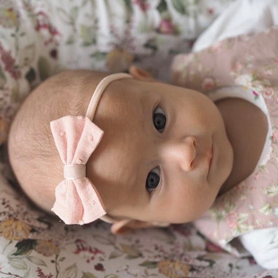 Swiss Dot Cotton Baby Bow/ Pale Pink