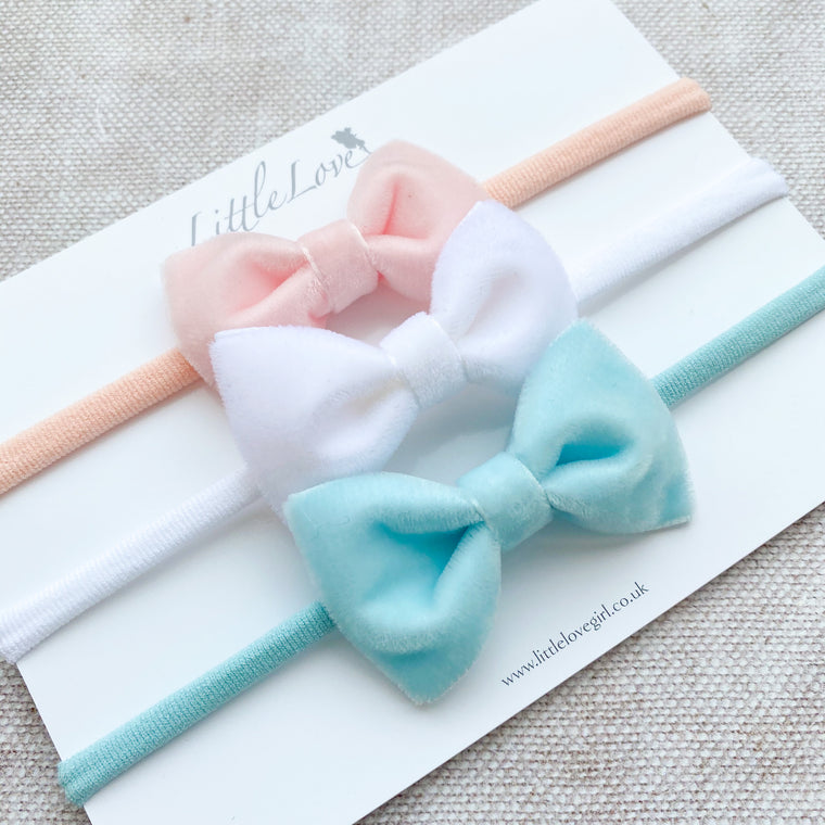 Velvet Baby Bow Headband Set