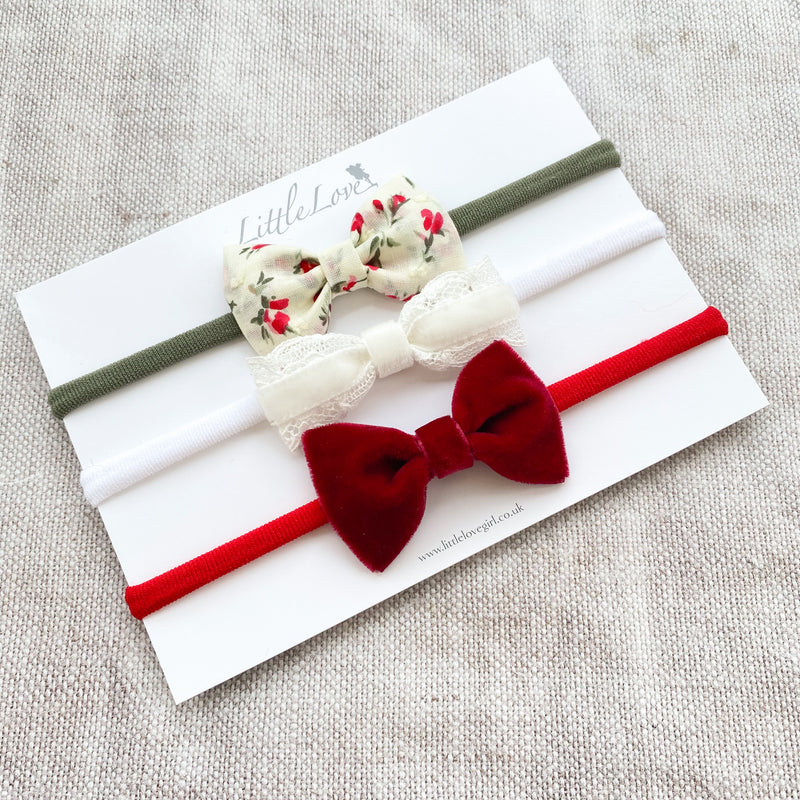 Baby Bow Set / Rosebuds and Velvet