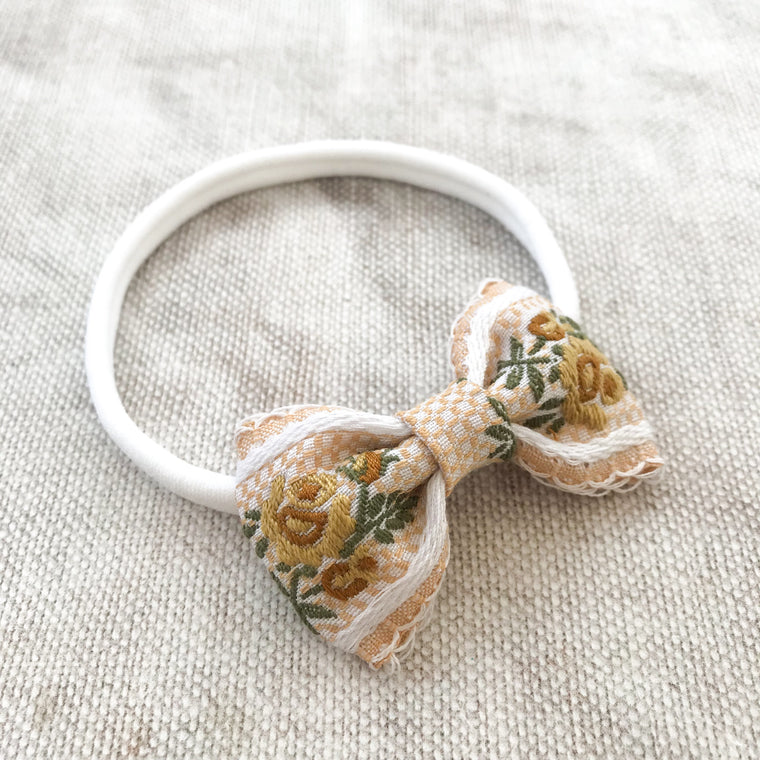Embroidered Baby Bow/ Honeysuckle