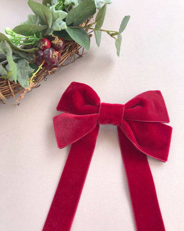 Oversized Velvet Bow Hair Barrette/FABLE RED