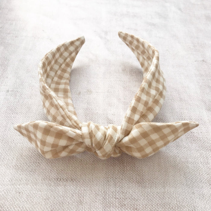 Gingham Cotton Bow Headband/ Neutral
