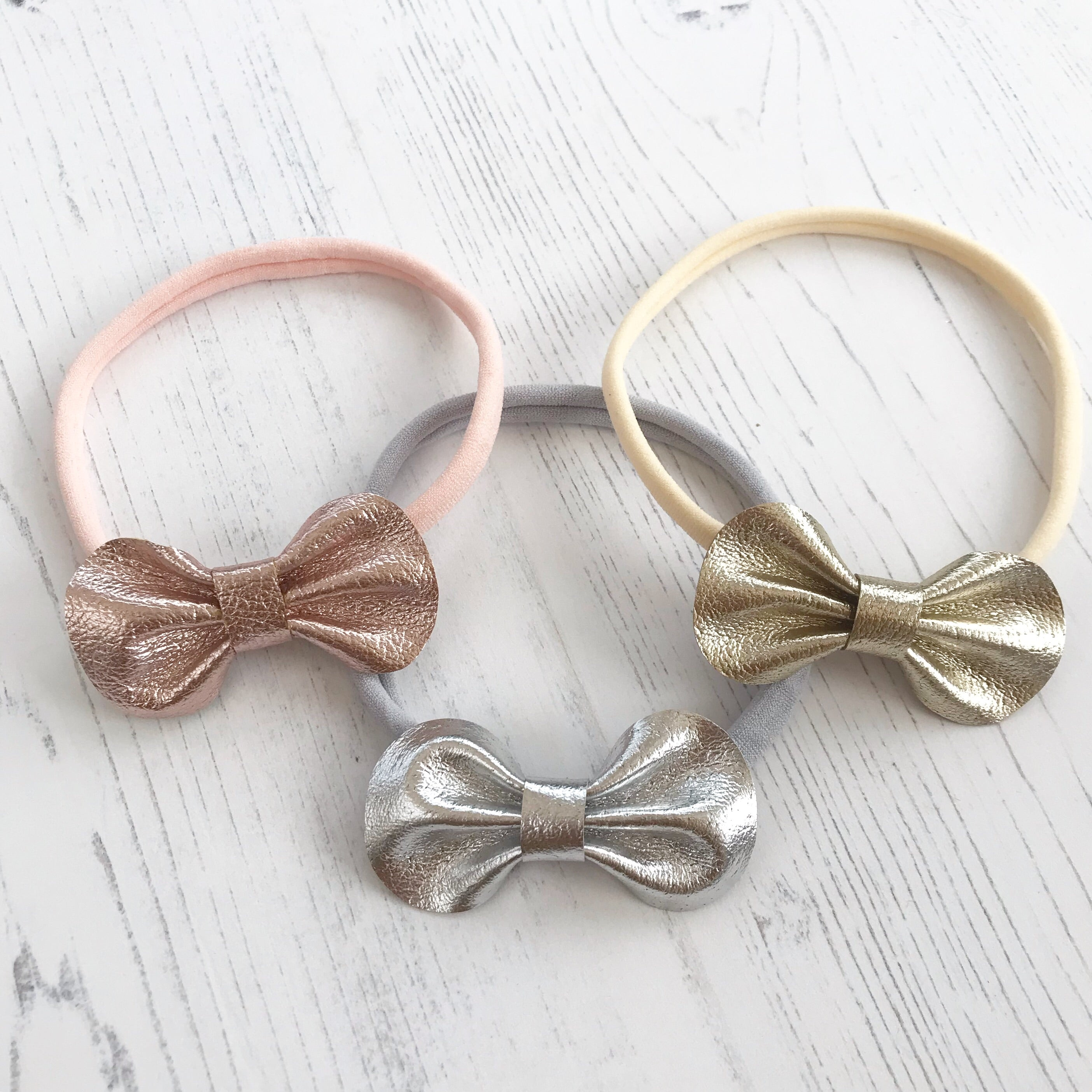 Baby Toddler Leather Bow Headband/ Metallic