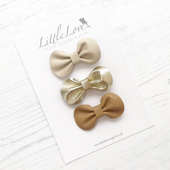 Mini Bow Hair Clip Set / SHORE
