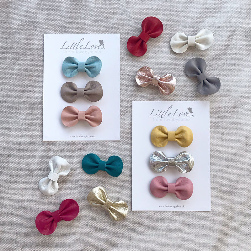Mini Bow Hair Clip Set / Custom Colours