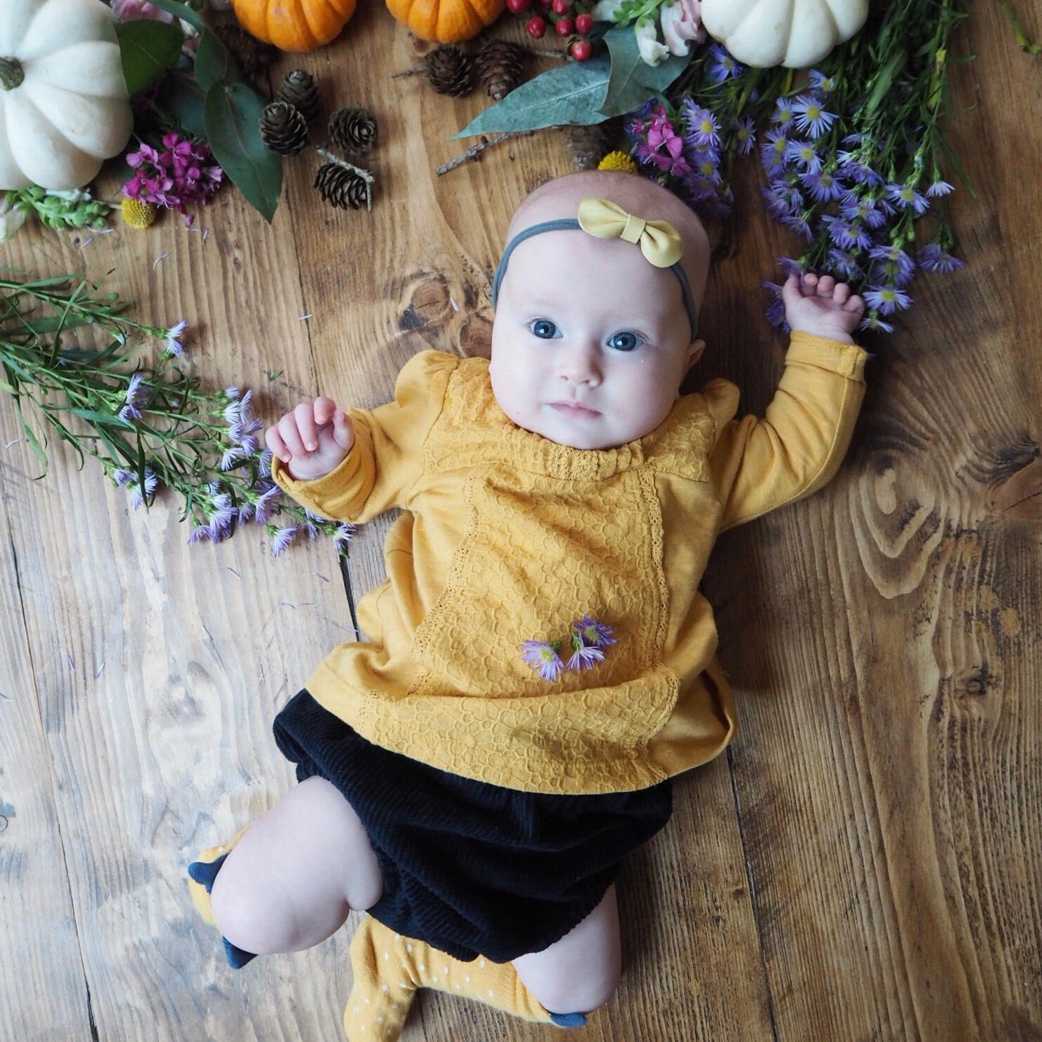 Toddler Baby Bow Headband / Yellow & Grey