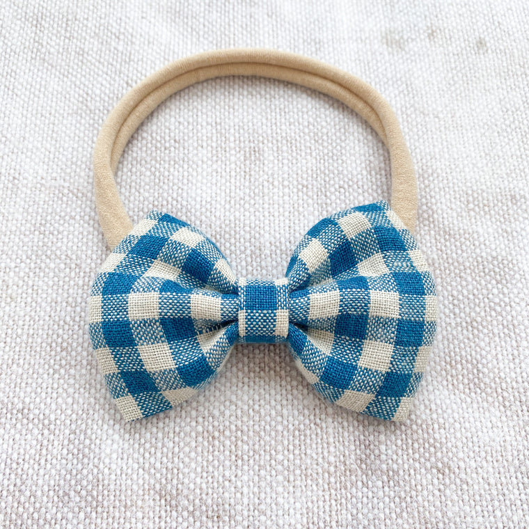 Gingham Linen Bow Headband /Teal