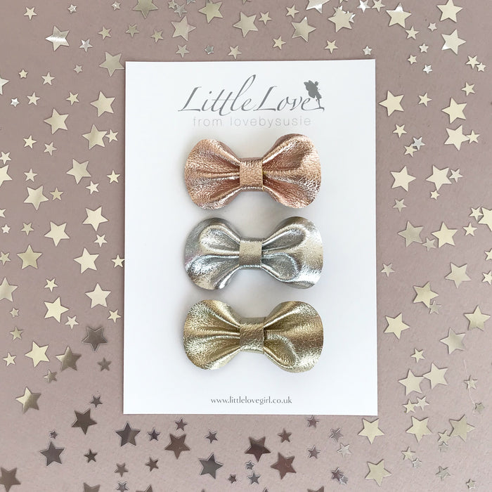 Mini Bow Hair Clip Set / METALLICS