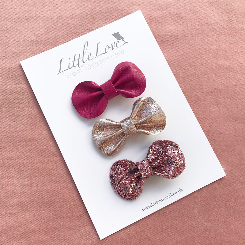 Mini Bow Hair Clip Set / BEJEWELLED