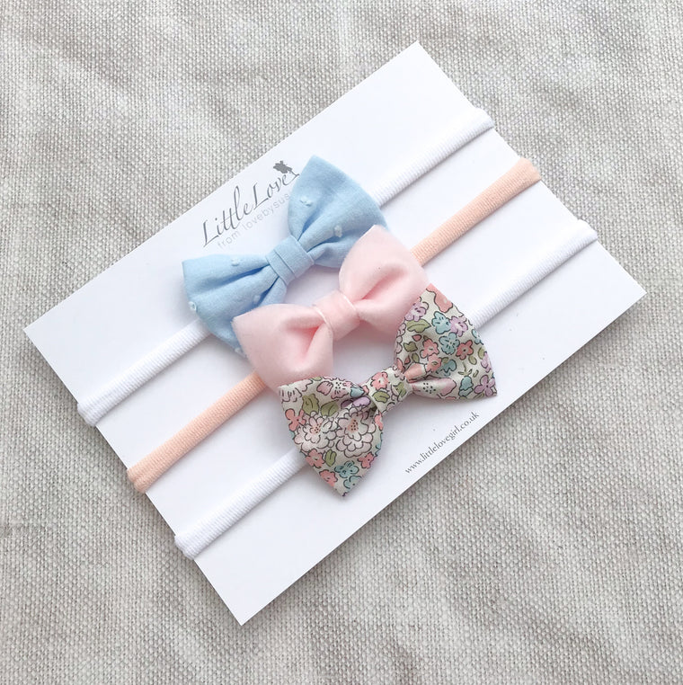 Shop Little Love luxury baby bow headband set for newborn to baby to toddler in velvet, liberty michelle and swiss dot cotton, velvet bow headband, velvet baby bow, pink velvet baby bow, velvet bow headband for baby, pink liberty print bow headband, liberty bows for baby, baby bows in liberty print, velvet baby bow