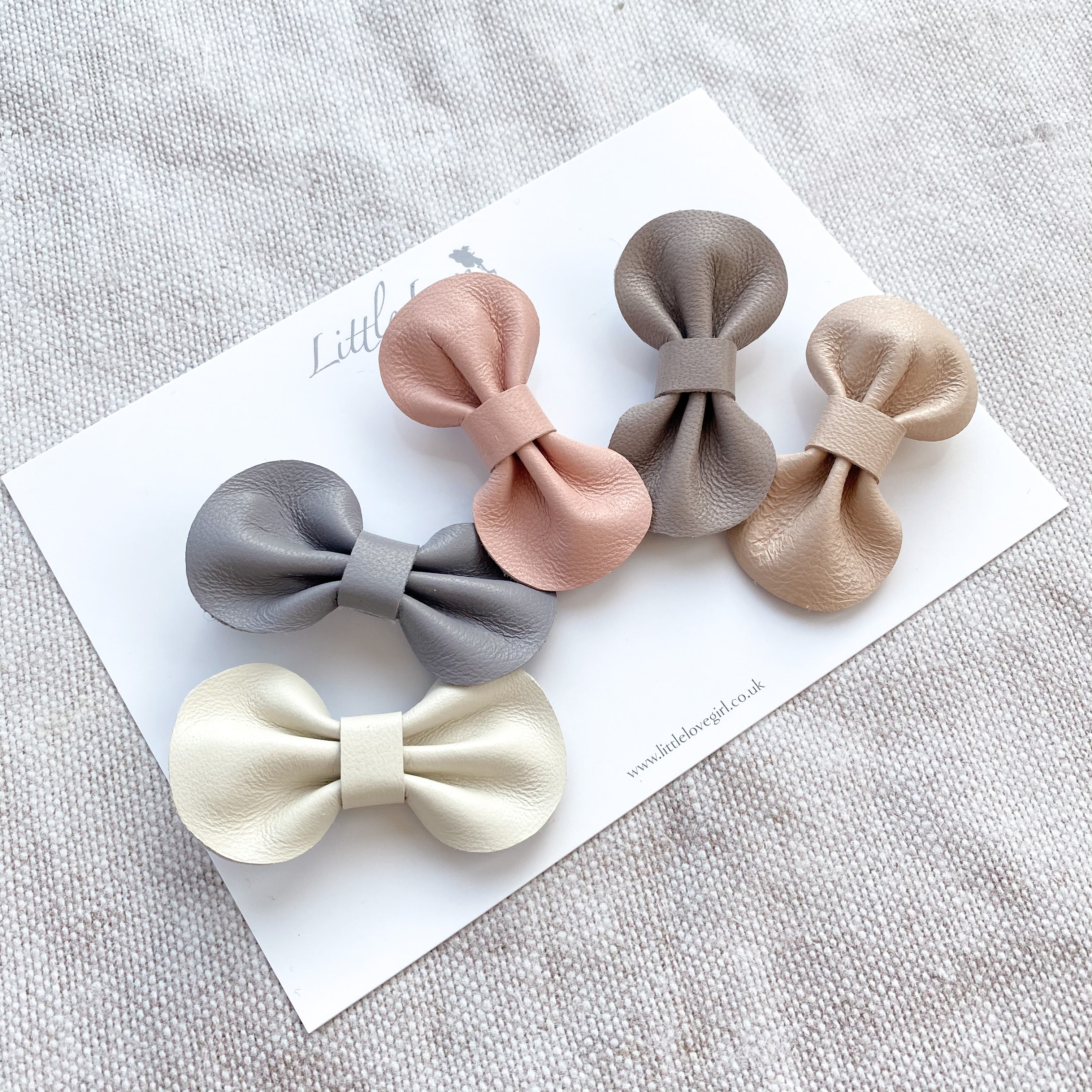 Baby or Toddler neutral set of leather bow hair clips, in pretty neutral colours, Baby Hair Accessories, Baby Hair Clips, Toddler Hair Bows, Leather Bows, rainbow hair clips, rainbow hair bows, neutral leather bows, neutral hair bow clips, neutral rainbow hair clip gift, neutral rainbow gifts for girls
