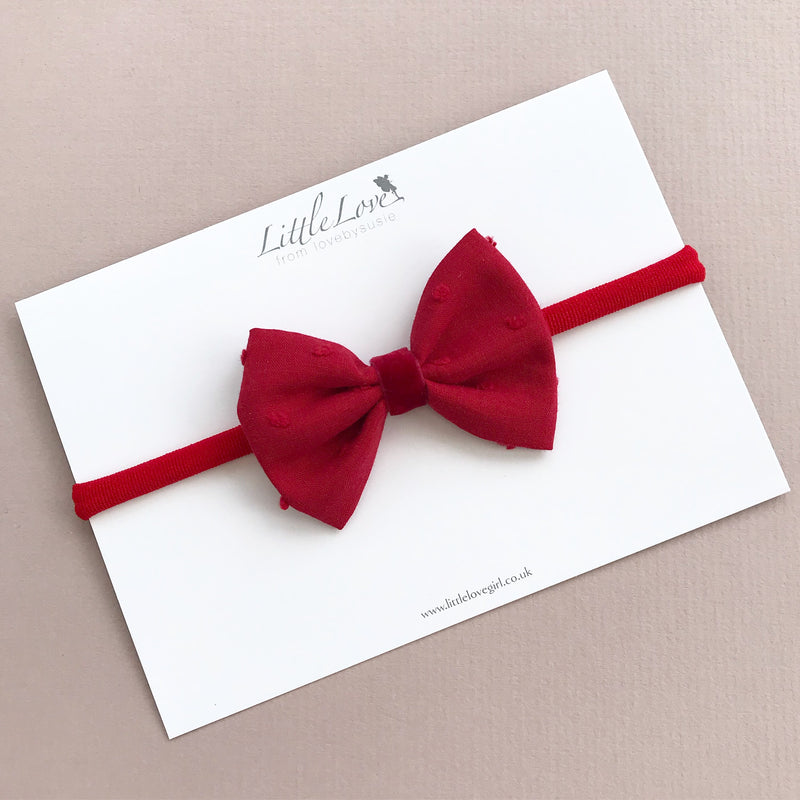 Red Bow Hair Clip or Headband/ Swiss Dot