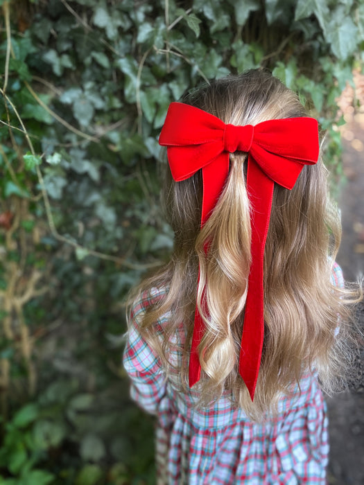 Little Love 'Ever After' velvet bow hair clip in true red, red velvet hairbow for christmas, red velvet hairbow, red velvet bow barrette, bow barrette, Christmas Hair bows, girls hair accessories uk, red Christmas hair bow, red velvet bow hair clip, Large Red Velvet Hair Bow, Girls Red Hair bow in velvet, little girls in red hair bows, vintage hair bows, little girl in tartan dress for christmas with red bow