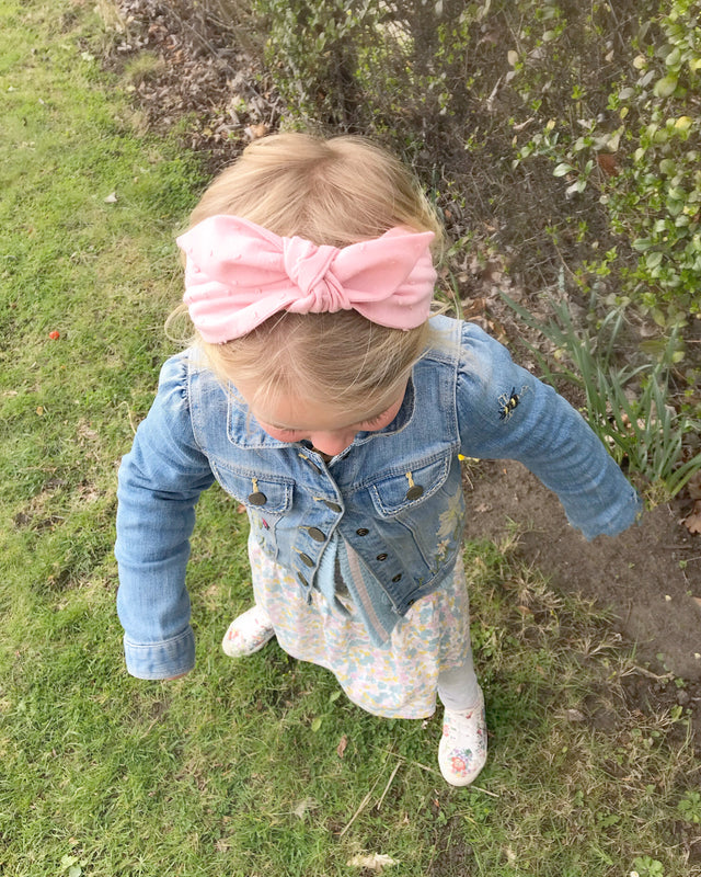 Swiss Dot Cotton Bow Headband/ PINK